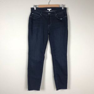Eileen Fisher Dark Wash Frayed Hem Ankle Jeans 8
